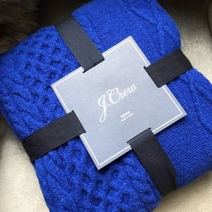 J. CREW Throw Cable Knit Wool Blend Blue 50x70